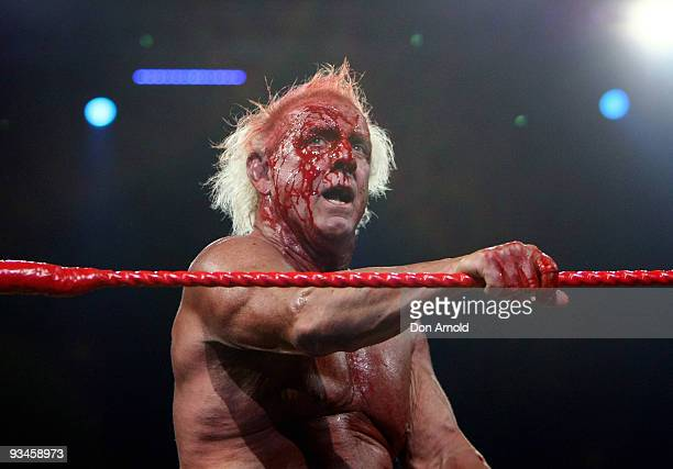 Ric Flair competes against Hulk Hogan during the 'Hulkamania Tour' at Acer Arena on November 28 2009 in Sydney Australia