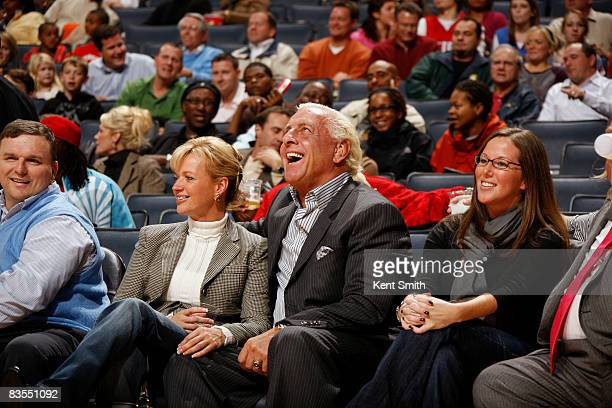Ric Flair enjoys the game of the Charlotte Bobcats against the Detroit Pistons on November 3 2008 at the Time Warner Cable Arena in Charlotte North...