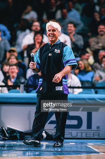 Ric Flair of the Charlotte Hornets during the game against the Seattle Supersonics on March 6 1998 at Charlotte Coliseum in Charlotte North Carolina