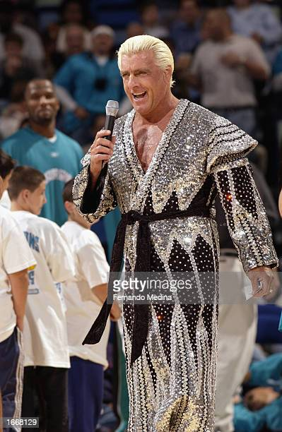 Ric Flair the former 7time WCW World Champion ignites the New Orleans crowd prior to the NBA game between the Minnesota Timberwolves and the New...