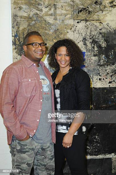 Ric Whitney and TIna Perry at the Oscar Murillo Distribution Center VIP Opening Reception at The Mistake Room on January 17 2014 in Los Angeles...