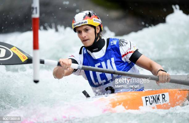 Ricarda Funk of Germany competes during the Kayak Single Women's Semifinal of the ICF Canoe Slalom World Cup on June 25 2017 in Augsburg Germany