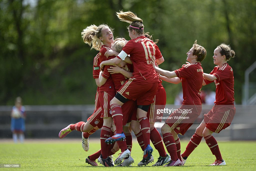 Ricarda Walkling of Muenchen celebrates the opening goal with team mates during the B Junior Girls match between Bayern Muenchen and VfL Sindelfingen at Sportpark Aschheim on May 4, 2013 in Aschheim, Germany.