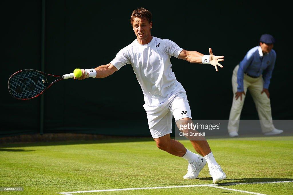 <a gi-track='captionPersonalityLinkClicked' href=/galleries/search?phrase=Ricardas+Berankis&family=editorial&specificpeople=4115400 ng-click='$event.stopPropagation()'>Ricardas Berankis</a> of Lithuania plays a forehand shot during the Men's Singles first round match against Marcus Willis of Great Britain on day one of the Wimbledon Lawn Tennis Championships at the All England Lawn Tennis and Croquet Club on June 27th, 2016 in London, England.