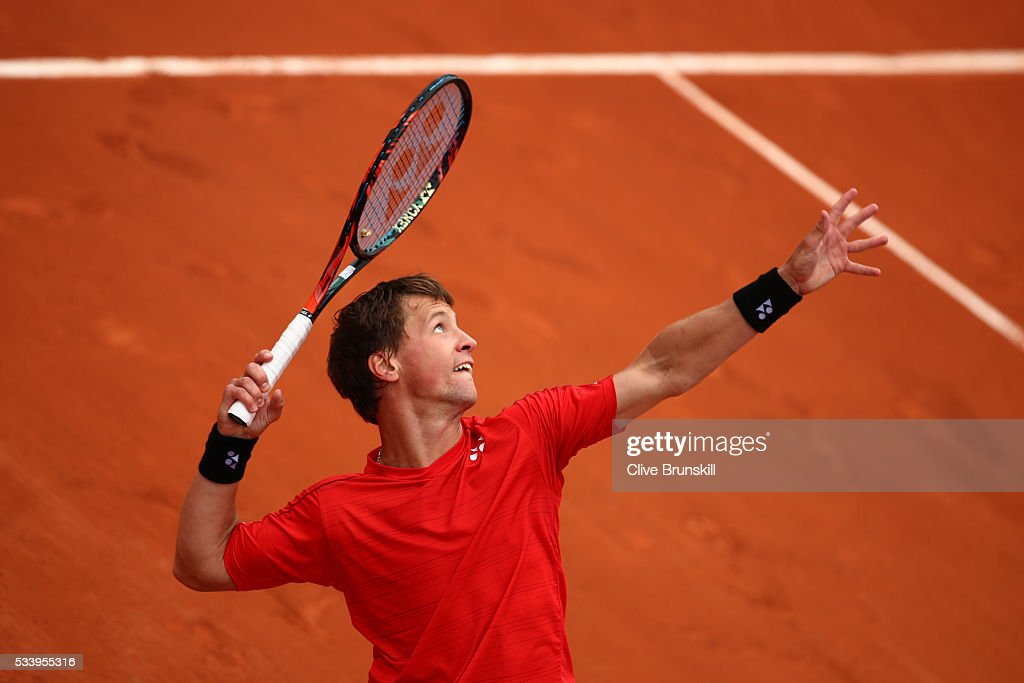 <a gi-track='captionPersonalityLinkClicked' href=/galleries/search?phrase=Ricardas+Berankis&family=editorial&specificpeople=4115400 ng-click='$event.stopPropagation()'>Ricardas Berankis</a> of Lithuania serves during the Men's Singles first round match against Nicolas Mahut of France on day three of the 2016 French Open at Roland Garros on May 24, 2016 in Paris, France.