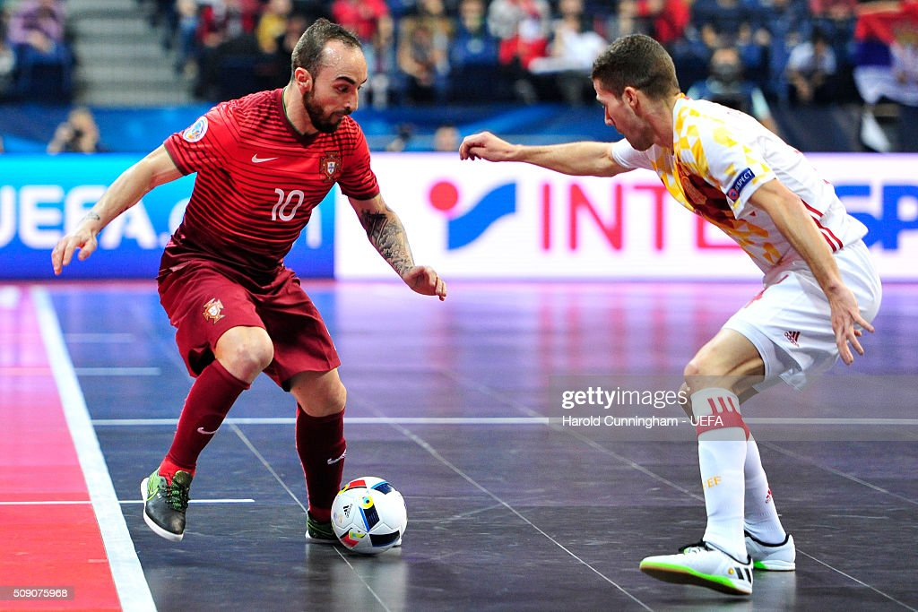 Ricardinho of Portugal and Raul Campos of Spain in action during the UEFA Futsal EURO 2016 quarter final match between Portugal and Spain at Arena Belgrade on February 8, 2016 in Belgrade, Serbia.