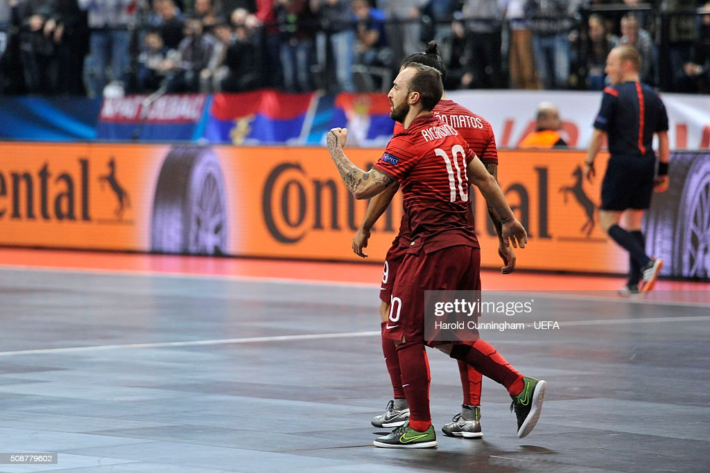 Ricardinho of Portugal celebrates a goal during the UEFA Futsal EURO 2016 match between Portugal and Serbia at Arena Belgrade on February 6, 2016 in Belgrade, Serbia.