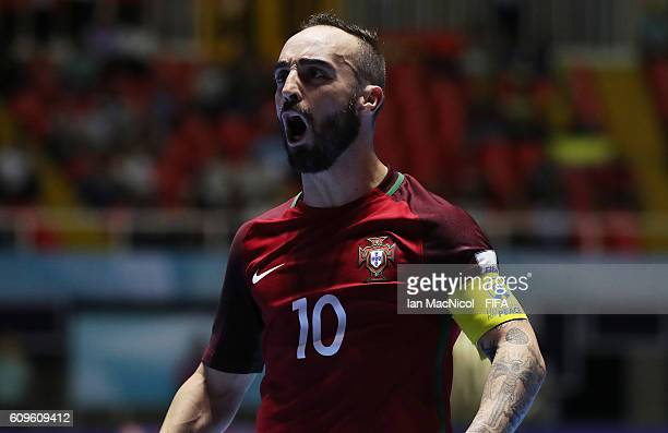Ricardinho of Portugal celebrates after he scores his second goal during the FIFA Futsal World Cup Round of 16 match between Portugal and Costa Rica...