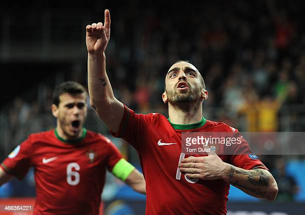 Ricardinho of Portugal celebrates his goal during the Futsal Euro 2014 match between Portugal and Russia at Lotto Arena on February 1 2014 in...