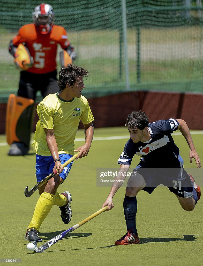 Ricardo Achondo (R) of Chile in action during a match between Brazil and Chile as part of the Hockey World League - Round 2 at Complexo Esportivo de Deodoro on March 03, 2013 in Rio de Janeiro, Brazil.