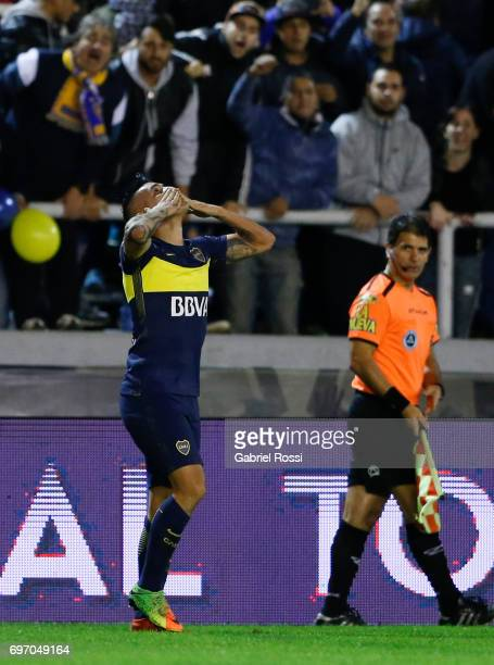 Ricardo Adrian Centurion of Boca Juniors celebrates after scoring the second goal of his team during a match between Aldosivi and Boca Juniors as...