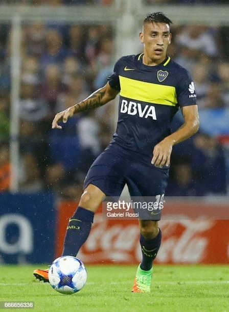 Ricardo Adrian Centurion of Boca Juniors drives the ball during a match between Velez Sarsfield and Boca Juniors as part of Torneo Primera Division...