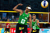 Ricardo Alex Costa Santos from Brazil celebrates with teammate Emanuel Rego their victory after the FIVB Beach Volleyball World Championships...