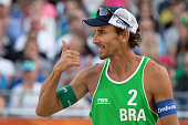 Ricardo Alex Costa Santos of Brazil celebrates their victory during the FIVB Beach Volleyball World Championships malematch between Brazil and Ghana...