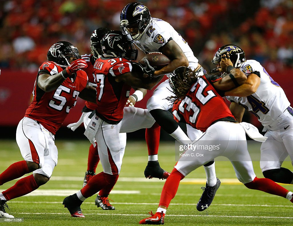 <a gi-track='captionPersonalityLinkClicked' href=/galleries/search?phrase=Ricardo+Allen&family=editorial&specificpeople=7172781 ng-click='$event.stopPropagation()'>Ricardo Allen</a> #37 of the Atlanta Falcons tackles <a gi-track='captionPersonalityLinkClicked' href=/galleries/search?phrase=Darren+Waller&family=editorial&specificpeople=8583964 ng-click='$event.stopPropagation()'>Darren Waller</a> #12 of the Baltimore Ravens at Georgia Dome on September 3, 2015 in Atlanta, Georgia.