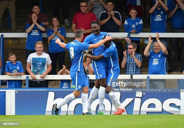 Ricardo Almeidwa Santos of Peterborough United celebrates scoring their first goal during the Pre Season Friendly match between Peterborough United...