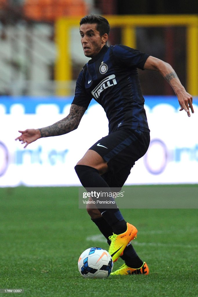 Ricardo Alvarez of FC Internazionale Milano in action during the TIM cup match between FC Internazionale Milano and AS Cittadella at Stadio Giuseppe Meazza on August 18, 2013 in Milan, Italy.