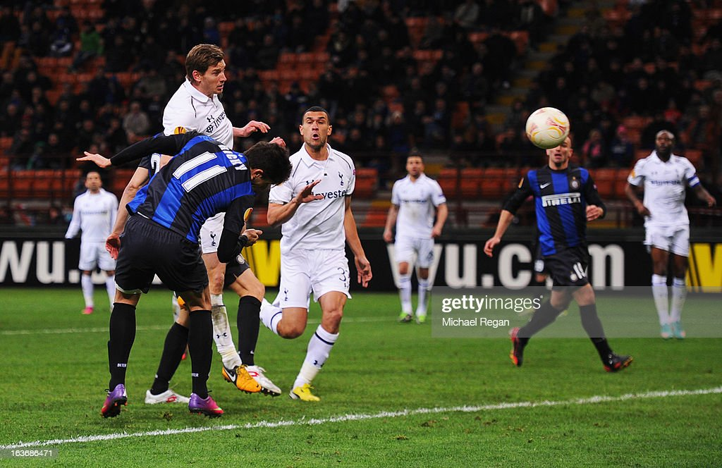 Ricardo Alvarez of Inter Milan (11) scores their fourth goal during UEFA Europa League Round of 16 second leg match between Inter Milan and Tottenham Hotspur at San Siro Stadium on March 14, 2013 in Milan, Italy.