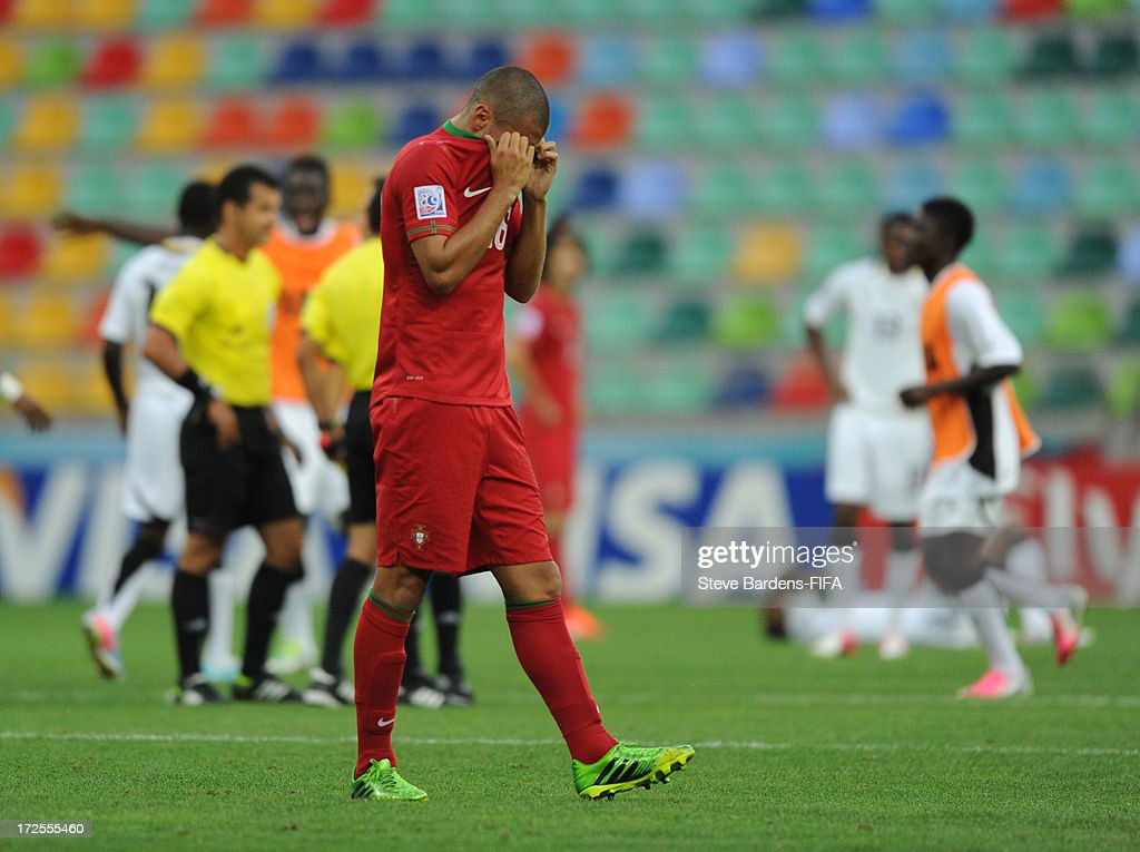 Ricardo Alves of Portugal leaves the field dejected after Portugal lose to Ghana during the FIFA U20 World Cup Round of 16 match between Portugal and Ghana at Kadir Has Stadium on July 3, 2013 in Kayseri, Turkey.