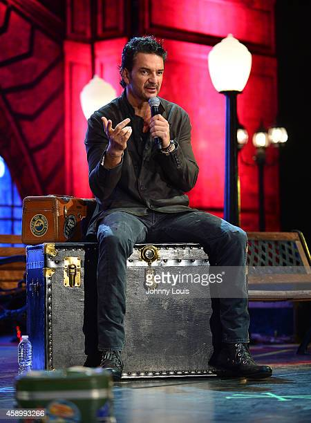 Ricardo Arjona speaks during his press conference promoting his Viaje Tour and preview it's production elements at American Airlines Arena on...