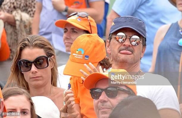 Ricardo Arjona with Family at Miami Open at Crandon Park Tennis Center on April 3 2016 in Key Biscayne Florida