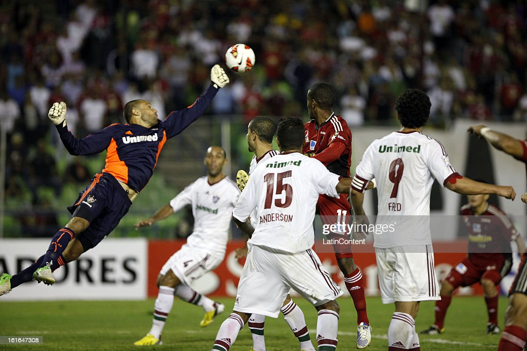 Ricardo Berna of Fluminense jumps for the ball during a match between Caracas FC and Fluminense as part of the 2013 Copa Bridgestone Libertadores at the Olympic Stadium on February 13, 2013 in Caracas, Venezuela.