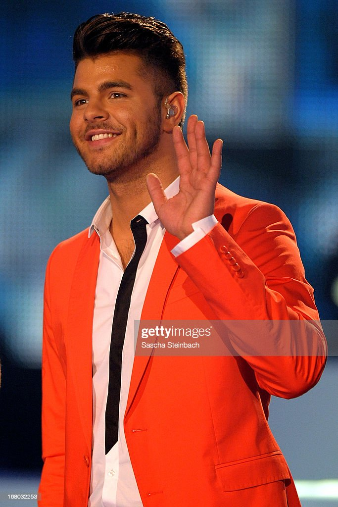 Ricardo Bielecki gestures during the rehearsal for the semi final of 'Deutschland Sucht Den Superstar' at Coloneum on May 4, 2013 in Cologne, Germany.