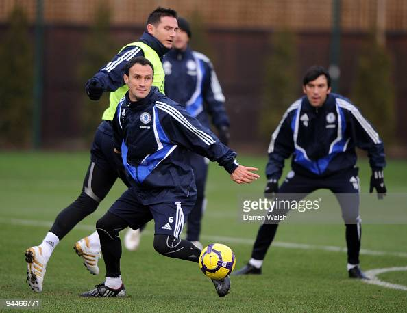 Ricardo Carvalho and Frank Lampard of Chelsea during a training session at the Cobham training ground on December 15 2009 in Cobham England