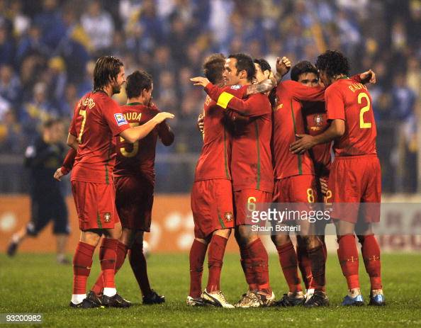 Ricardo Carvalho and teammates celebrate at the end of the FIFA2010 World Cup Qualifier 2nd Leg match between BosniaHerzegovina and Portugal on...