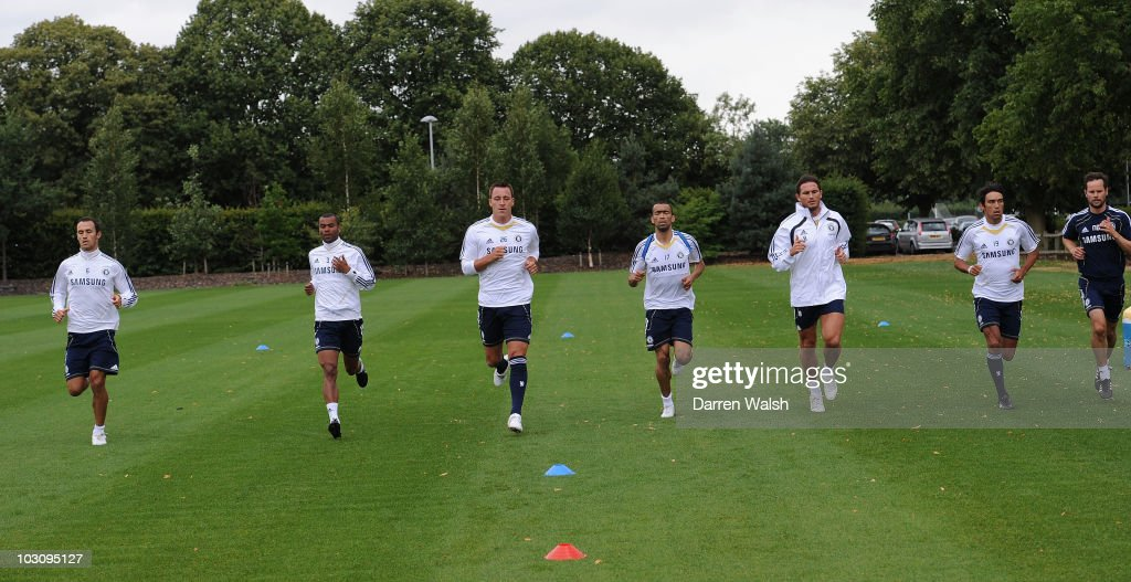 Ricardo Carvalho Ashley Cole John Terry Jose Bosingwa Frank Lampard and Paulo Ferreira of Chelsea during a training session at the Cobham Training...