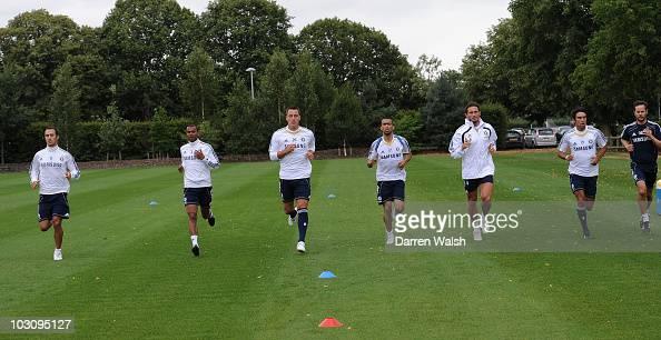 Ricardo Carvalho Ashley Cole John Terry Jose Bosingwa Frank Lampard and Paulo Ferreira of Chelsea during a training session at the Cobham Training...
