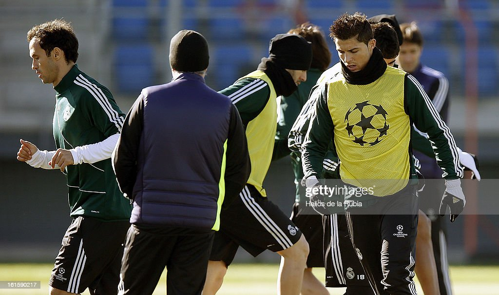 Ricardo Carvalho, Karim Benzema and Cristiano Ronaldo of Real Madrid exercise during a training session ahead of the UEFA Champions League match between Real Madrid CF and Manchester United at the Valdebebas training ground on February 12, 2013 in Madrid, Spain.