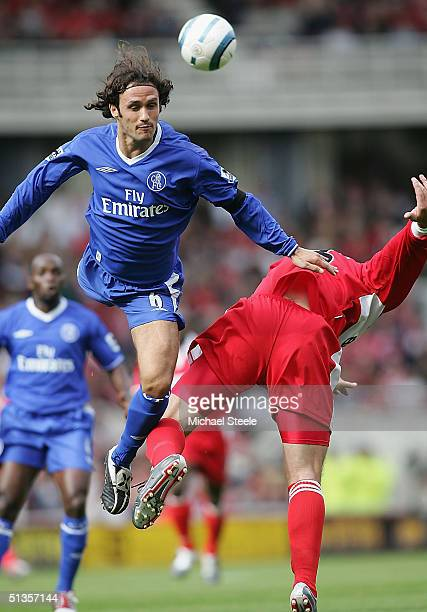 Ricardo Carvalho of Chelsea leaps above Mark Viduka of Middlesbrough during the FA Barclaycard Premiership match between Middlesbrough and Chelsea at...