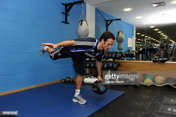 Ricardo Carvalho of Chelsea trains in the gym during a training session at the Cobham training ground on February 26 2010 in Cobham England