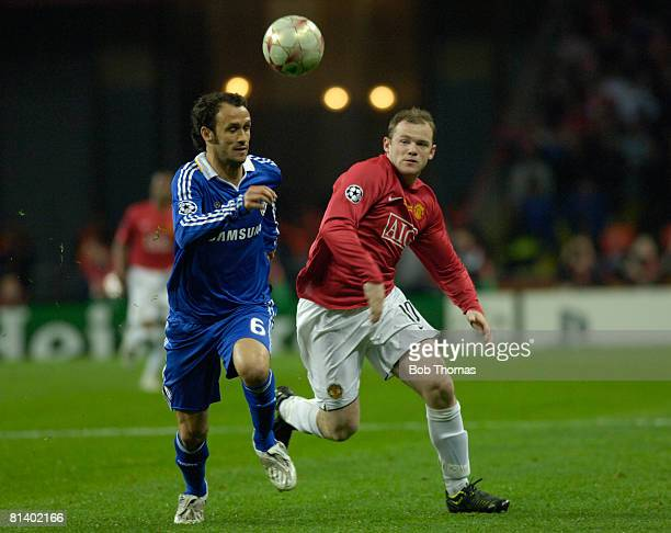 Ricardo Carvalho of Chelsea with Wayne Rooney of Manchester United during the UEFA Champions League Final between Manchester United and Chelsea held...