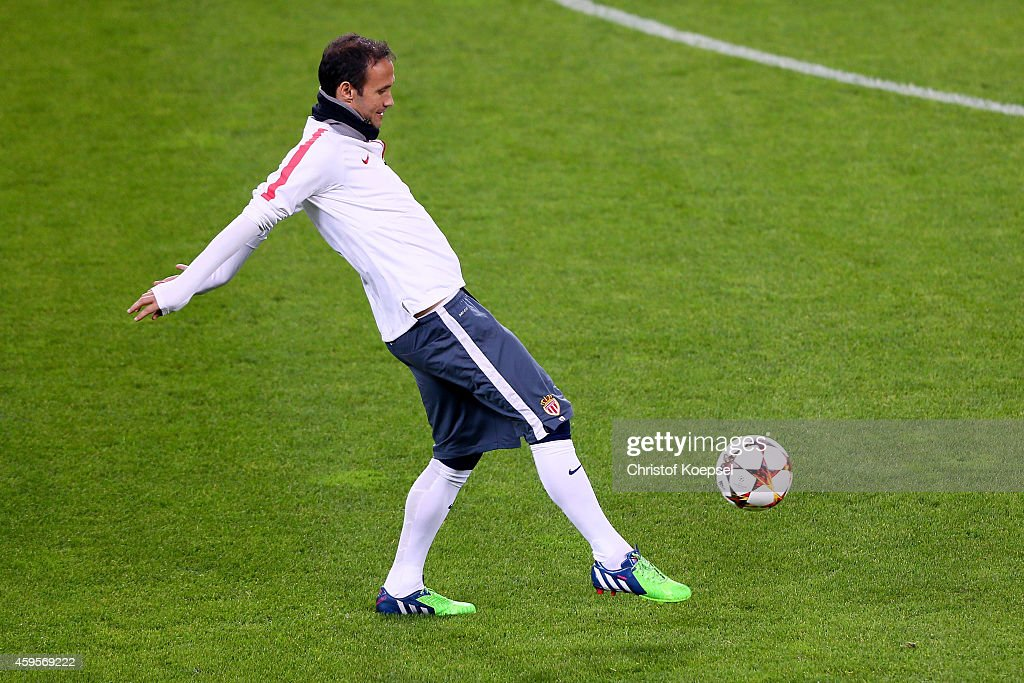 Ricardo Carvalho of Monaco juggles with the ball during a AS Monaco training session ahead of their UEFA Champions League Group C match between Bayer...