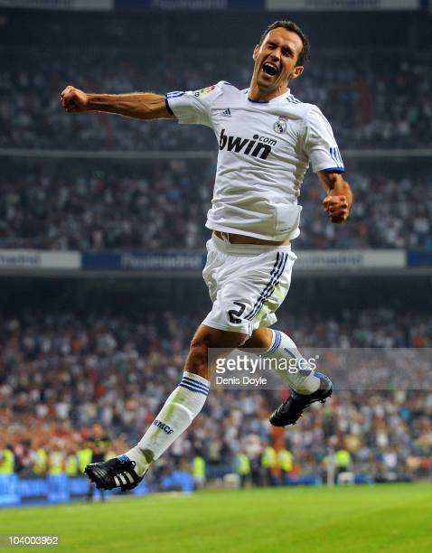 Ricardo Carvalho of Real Madrid celebrates after scoring his team's first goal during the La Liga match between Real Madrid and Osasuna at Estadio...