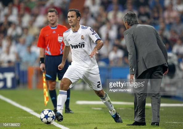 Ricardo Carvalho of Real Madrid in action as head coach Jose Mourinho reacts during the UEFA Champions League group G match between Real Madrid and...