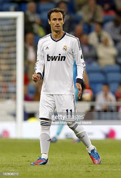 Ricardo Carvalho of Real Madrid looks on during the Santiago Bernabeu Trophy match between Real Madrid and Millonarios CF at Santiago Bernabeu...
