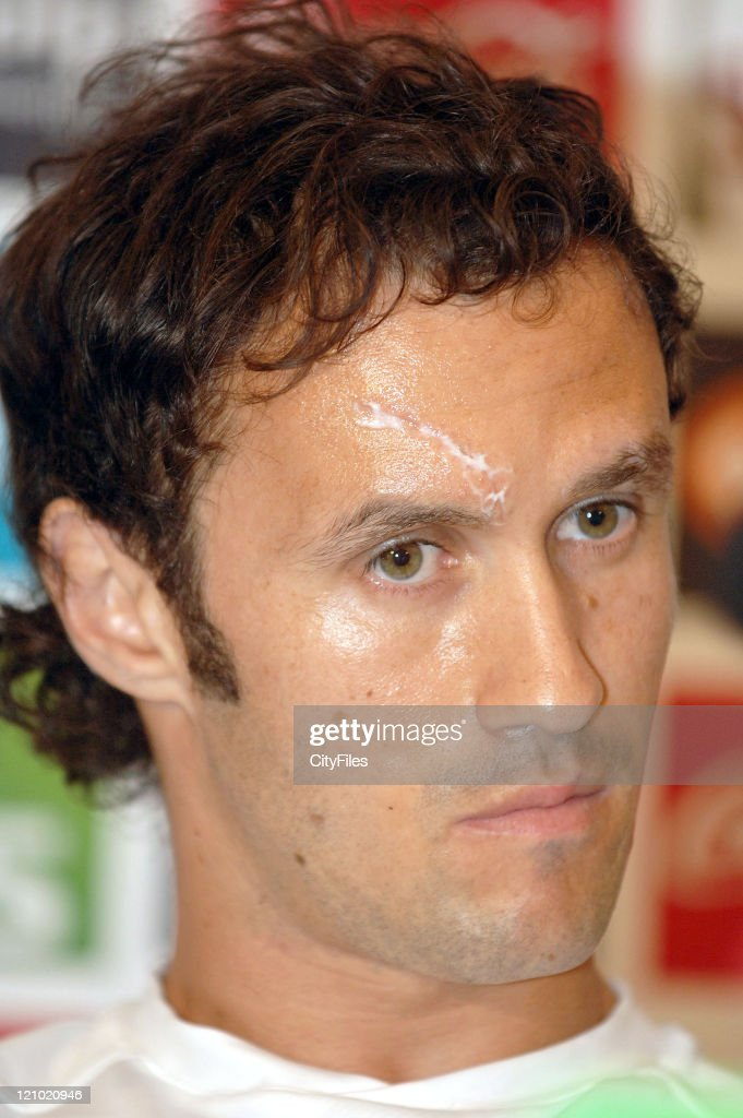 Ricardo Carvalho of team Portugal National Team speaking to the media during the Portugal National Team Press Conference on May 31 2006 at Lisbon...