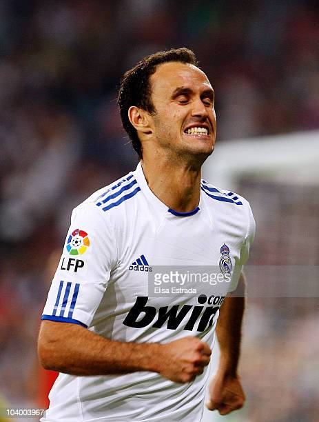 Ricardo Carvalho or Real Madrid celebrates after scoring during the La Liga match between Real Marid and Osasuna at Estadio Santiago Bernabeu on...