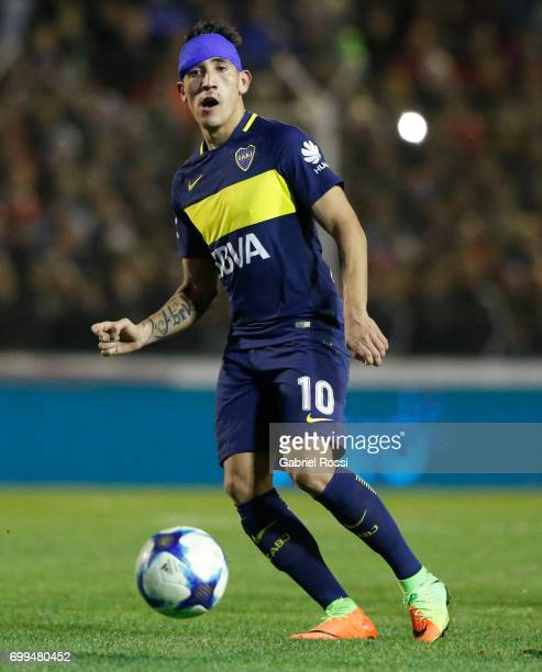 Ricardo Centurion of Boca Juniors controls the ball during a match between Olimpo and Boca Juniors as part of Torneo Primera Division 2016/17 at...