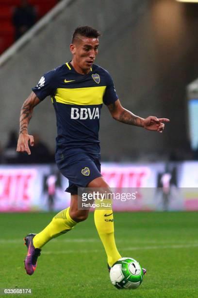 Ricardo Centurion of Boca Juniors drives the ball during a friendly match between Chivas of Mexico against Boca Juniors of Argentina named Duelo de...