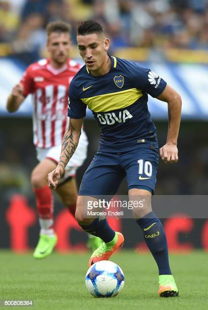 Ricardo Centurion of Boca Juniors kicks the ball during a during a match between Boca Juniors and Union as part of Torneo Primera Division 2016/17 at...