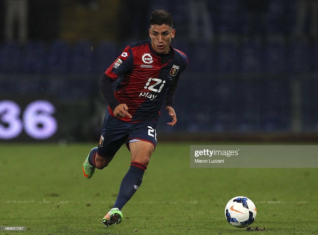 Ricardo Centurion of Genoa CFC in action during the serie A match between Genoa CFC and SS Lazio at Stadio Luigi Ferraris on March 26, 2014 in Genoa, Italy.