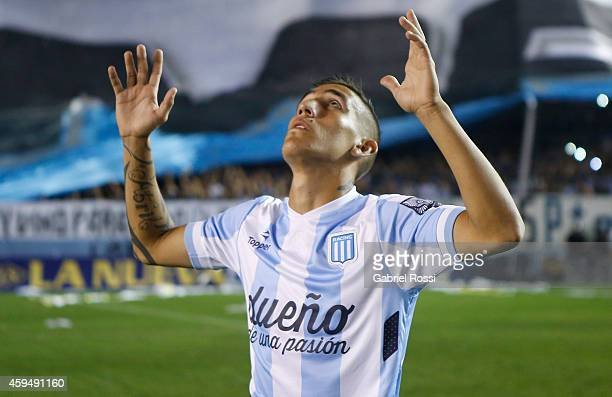Ricardo Centurion of Racing Club prays prior a match between Racing Club and River Plate as part of 17th round of Torneo de Transicion 2014 at...