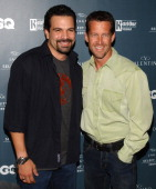 Ricardo Chavira and James Denton during GQ and Jaguar Present 'The Roof is on Fire' Sponsored by Valentino Arrivals at Museum of Television Radio in...