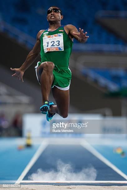 Ricardo Costa de Oliveira competes the Men's Long Jump T11 Final during the Paralympics Athletics Grand Prix Aquece Rio Test Event for the Rio 2016...