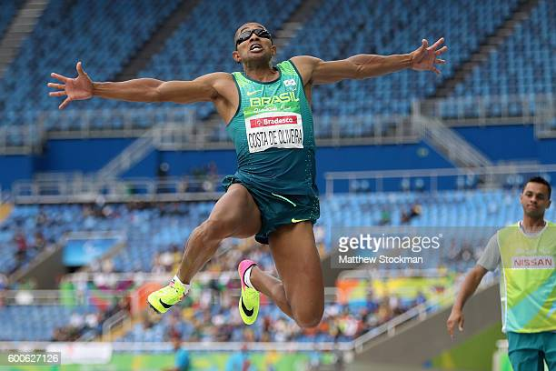 Ricardo Costa de Oliveira of Brazil competes in the men's long jump T11 on day 1 of the Rio 2016 Paralympic Games at Olympic Stadium on September 8...