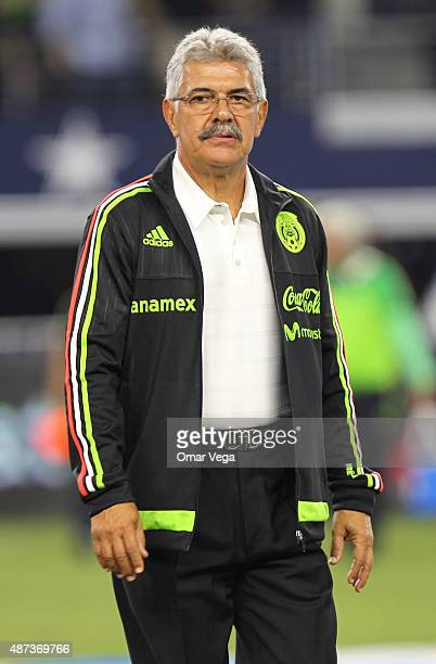 Ricardo Ferretti coach of Mexico looks on during a friendly match between Argentina and Mexico at ATT Stadium on September 08 2015 in Arlington...